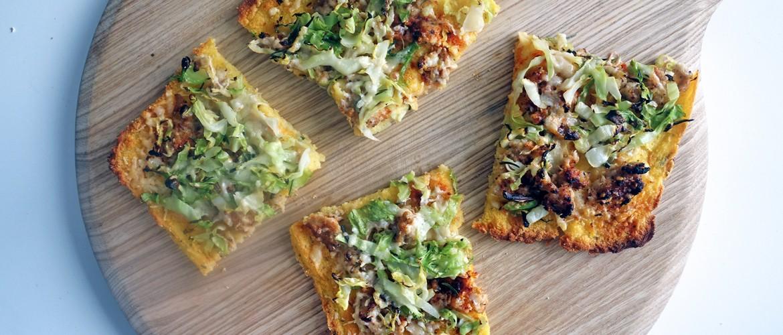 Sausage and Greens Polenta Pizza