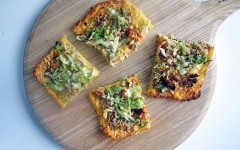 Sausage and Greens Polenta Pizza