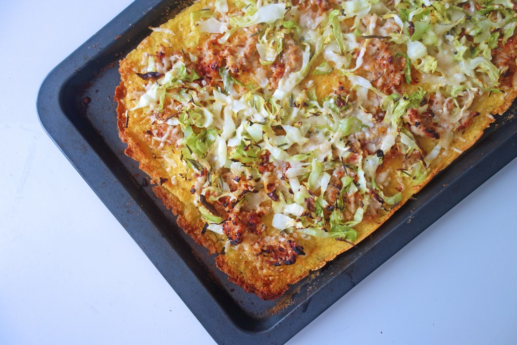 Polenta Pizza with Sausage and Greens , Recipe, tess ward, gluten free, pizza