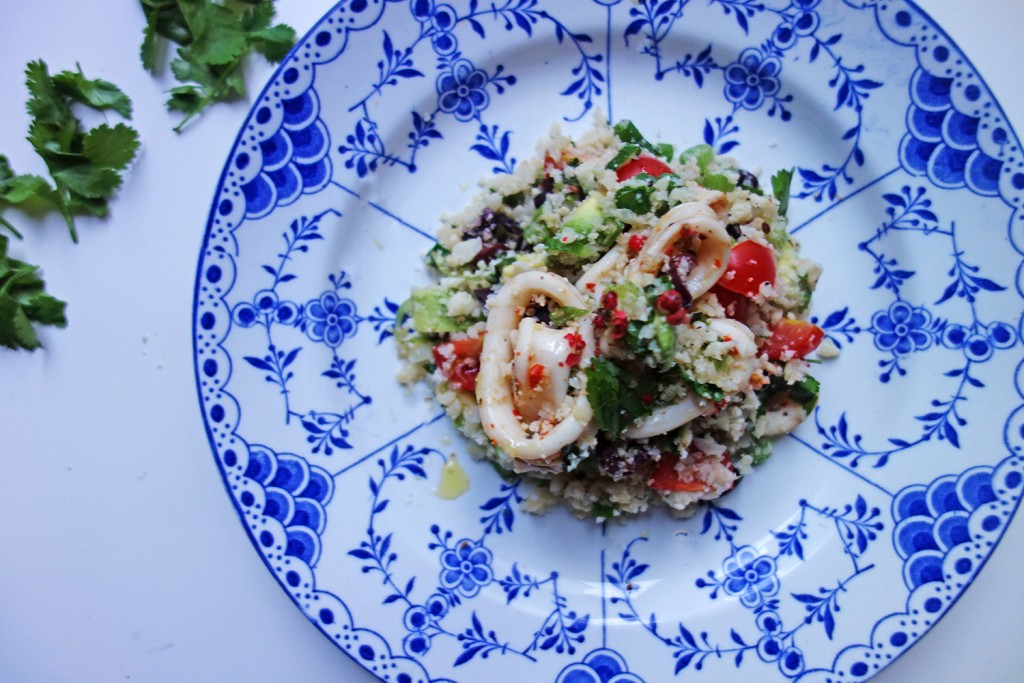 Calamari and Cauliflower Rice Summer Salad