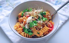 Sunday Night Roasted Tomato and Chickpea Pasta, Tess Ward, Recipe, pasta, delicious, gluten free, tomato, easy, simple, fast