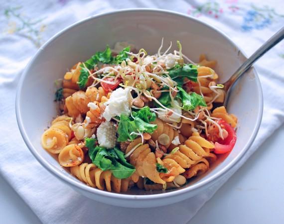 Sunday Night Roasted Tomato and Chickpea Pasta, Tess Ward, Recipe, pasta, delicious, gluten free, tomato, easy, simple, fast