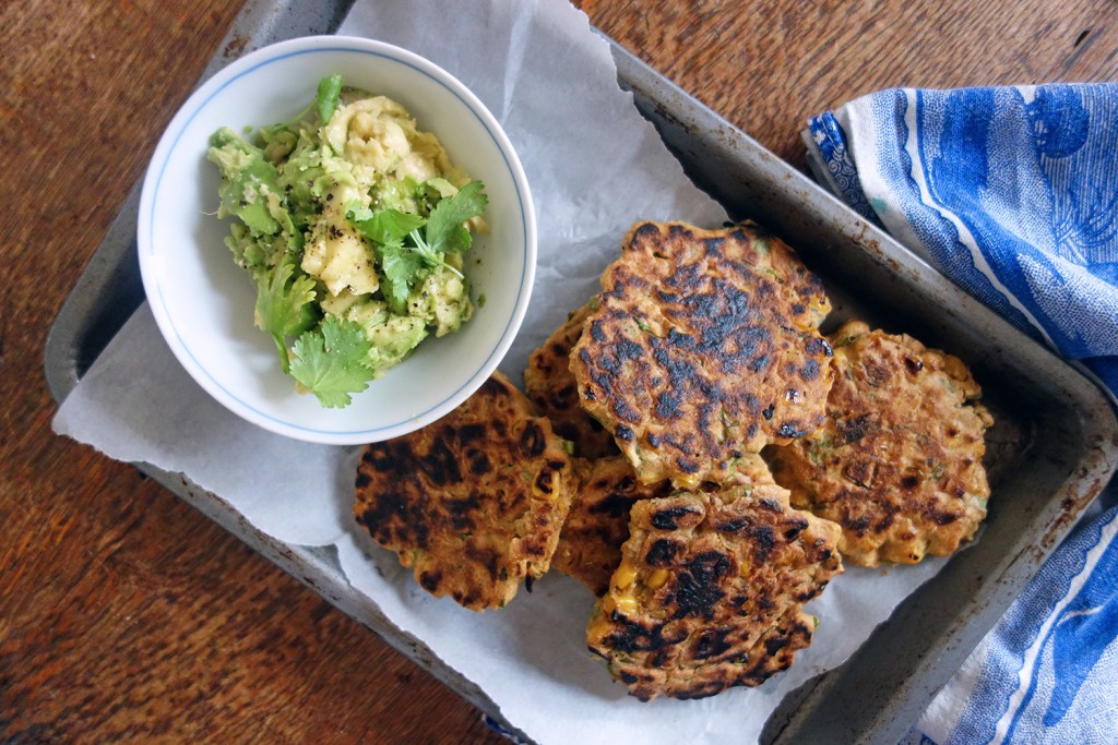 Sweetcorn Fritters with Smashed Avocado and Bacon