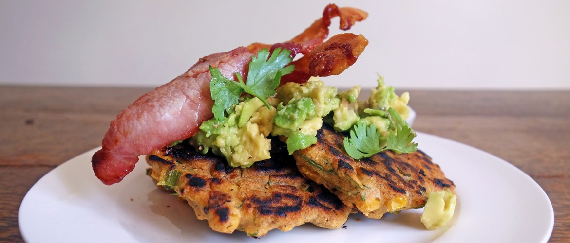 Sweetcorn Fritters with Smashed Avocado and Bacon, Tess Ward, Brunch, breakfast, delicious, easy