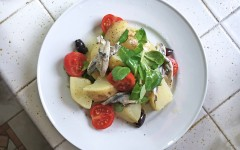 Lunchbox Salad with Potatoes and Anchovies, salad, tess ward, recipe, potato, anchovies, tomato