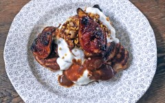 Choc chip Pancakes with Figs, Salted Caramel and Walnuts, Tess Ward, Breakfast, brunch, wheat free, pancake, recipe, easy, simple, fast, healthy