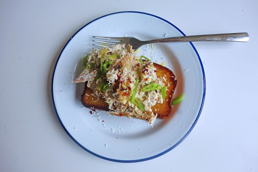 Chilli dressed Crab on Toasted Brioche, tess ward, breakfast, recipe