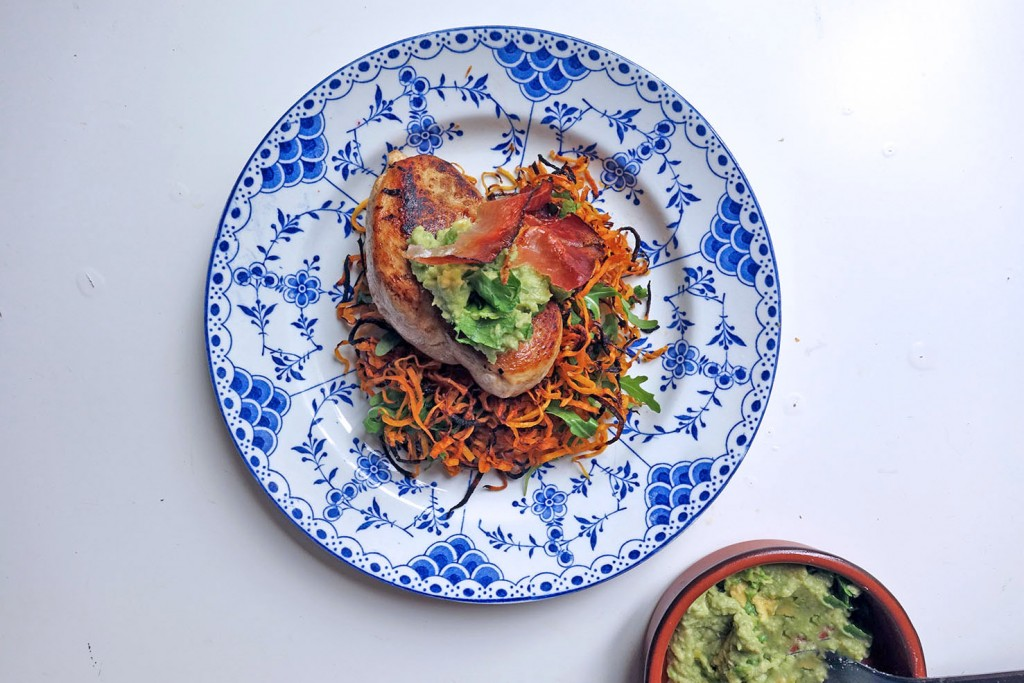 Flat iron chicken and shoestring squashetti, tess ward, recipe, chicken, easy, healthy