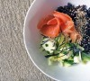 Black sushi rice bowl with salmon, pickled fennel and avocado, tess ward, recipe, sushi, easy, healthy