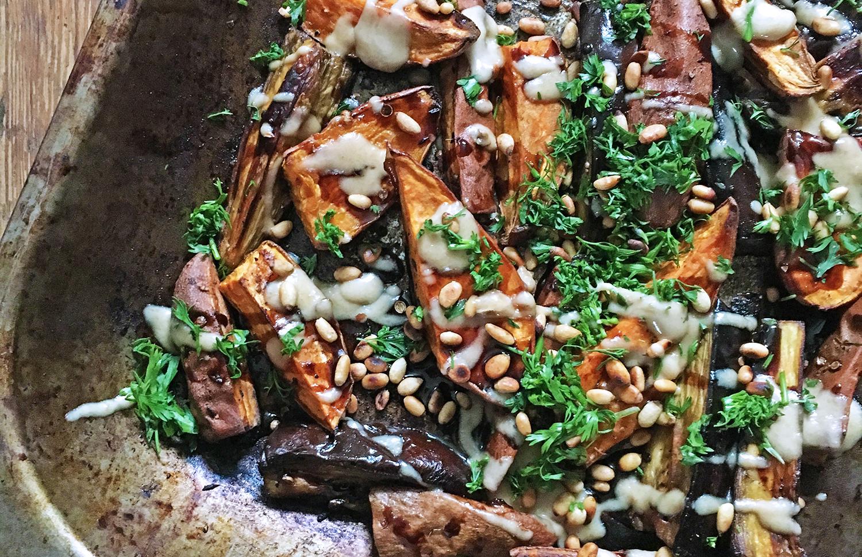 Roasted Aubergine and Sweet Potato with Tamarind and Tahini, tess ward, recipe, roast, veggies