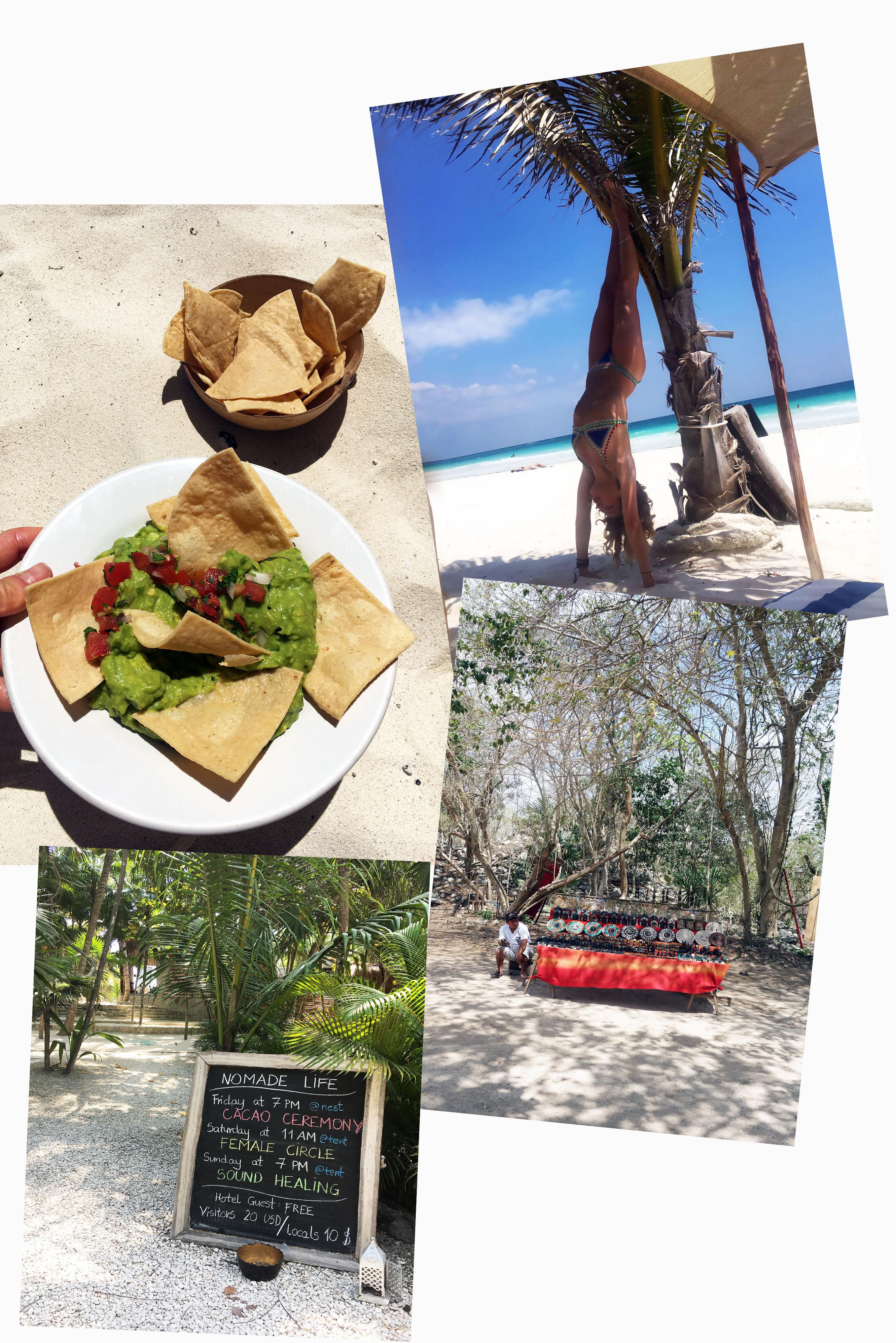 tess ward, mexico, travel, howlita, tulum, del cielo, hartwood, food, tacos, beetroot, avocado, creme, bar, cocktails, dinner, beach, guacamole, avocado