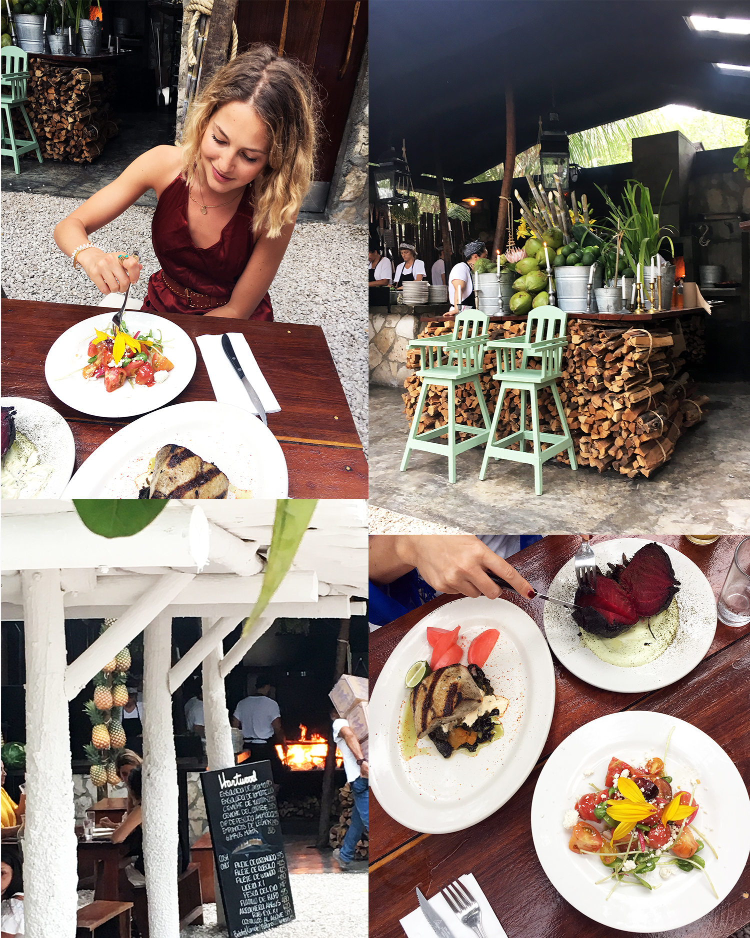 tess ward, mexico, travel, howlita, tulum, del cielo, hartwood, food, tacos, beetroot, avocado, creme, bar, cocktails, dinner