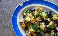 aubergine, yoghurt, saffron, turmeric, healthy, salad, cauliflower, rice, roast, summer, dish, recipe, roasted, tess ward, delicious, recipe, make, cook, easy, fast