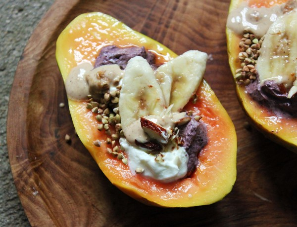 Vegan Papaya Breakfast Bowls, tess ward, breakfast, fruit, vegan, easy, yoghurt, light, smoothie, summer, recipe