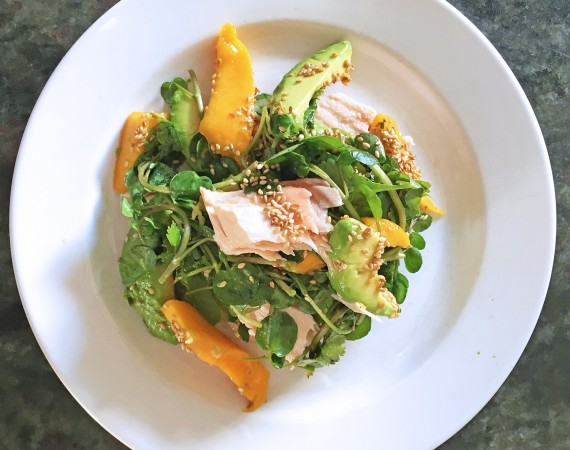 Salmon with Mango, Watercress and Avocado, tess ward, recipe, salad, salmon, omega, healthy, recipe, avocado, mango, sesame, fish, sauce, summer, easy, light, tess ward