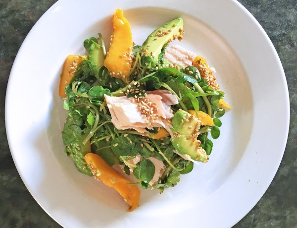 Salmon with Mango, Watercress and Avocado, tess ward, recipe, salad, salmon, omega, healthy, recipe, avocado, mango, sesame, fish, sauce, summer, easy, light, tess ward